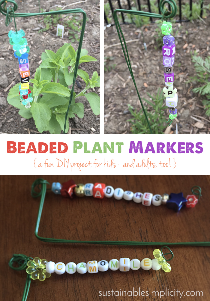 beaded plant markers